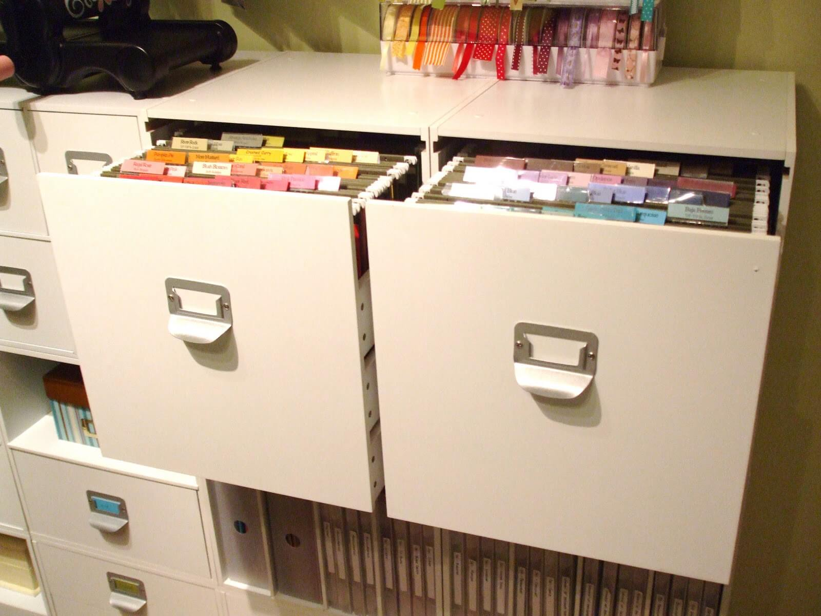 Storage file cabinets in office